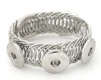 Item# 0513--- 18mm/20mm 3 Snap Multi-Swirl Wire Bracelet (FREE Shipping Coupon Code in Description)