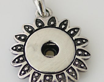 Item# 0227--- Snap Jewelry Metal 1-Snap Sunflower Pendant (FREE Shipping Coupon Code in Description)