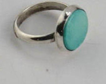 Turquoise round Robins egg blue ring set in Silver.
