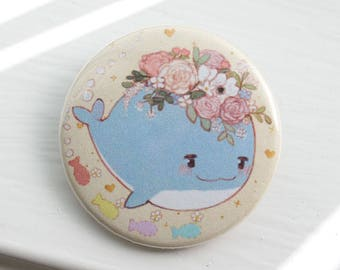 "Flower Whale 1.5"" Pinback Button"