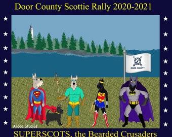 FREE SHIP SUPERHERO Bearded Crusaders Short Sleeve  Scottie T-Shirt