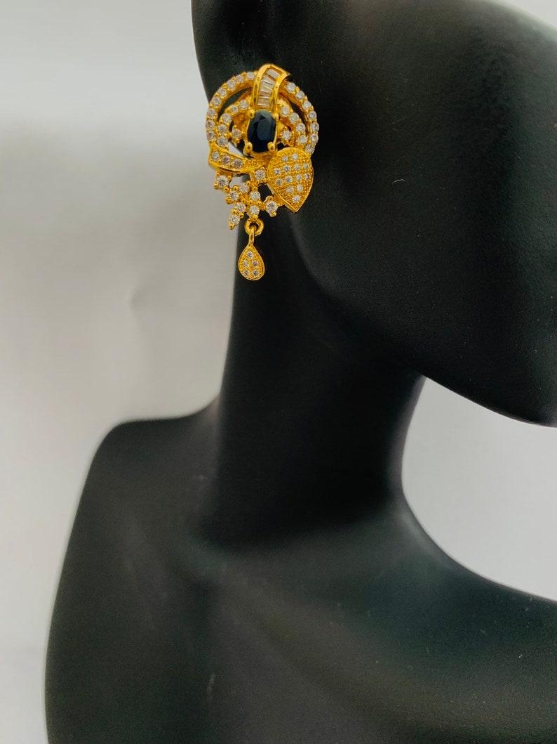 Sapphire Stones pendant Set Party Wear Pendant Set CZ Stones Pendant Set Pendant Set Gifting Jewelry