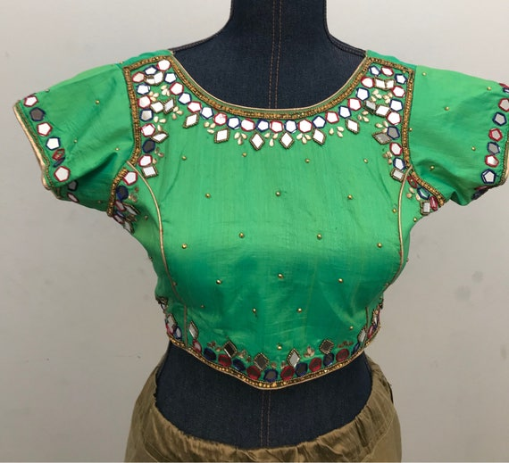Green Color With Mirror Work Designer Blouse