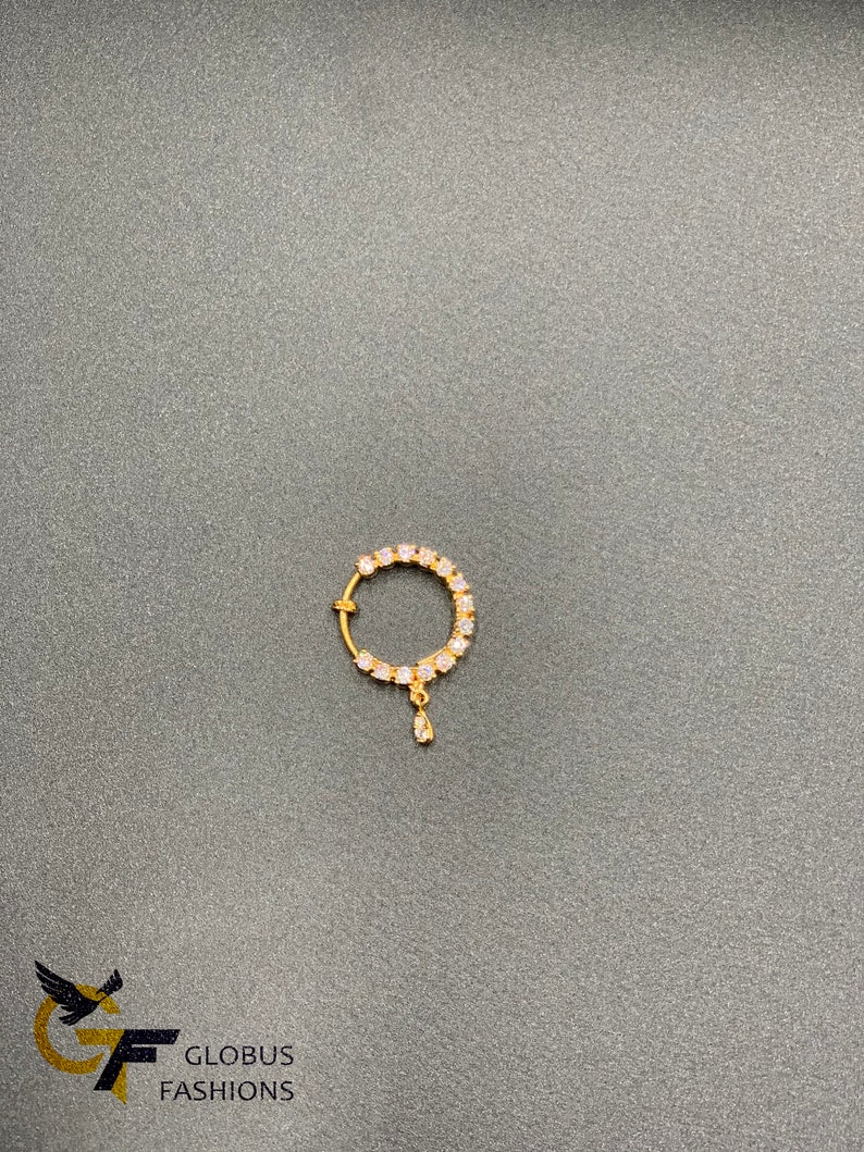 Mukku Pudaka Nose Clip Pressing Pin Mukuthi Nuth Cz Stones Pressing Nose Ring