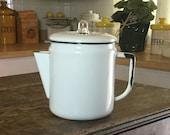 Vintage Coffee Pot, White Enamel Coffee Pot, Retro Kitchen Decor, Country Kitchen, Farmhouse Kitchen, Country Decor, SWAGcollectibles