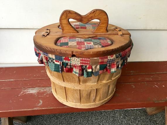 Sewing Caddy, Apple Basket, Pin Cushion, Sewing Basket, Farmhouse Style, Quilting Basket, Country Basket, Heart Basket, Yarn Basket