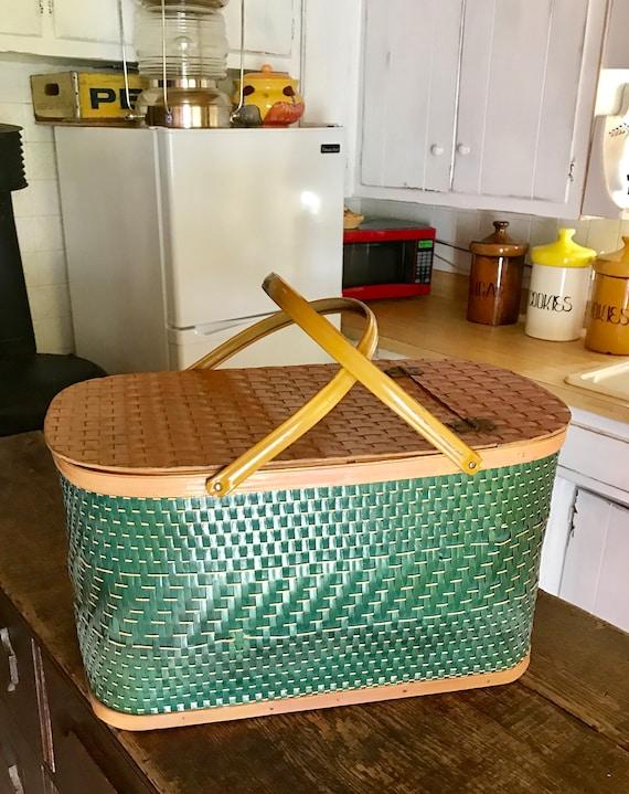 Green Picnic Basket, Redmon Picnic Basket, Woven B