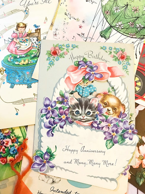 Vintage greeting cards 5 anniversary cards birthday cards etsy image 0 m4hsunfo