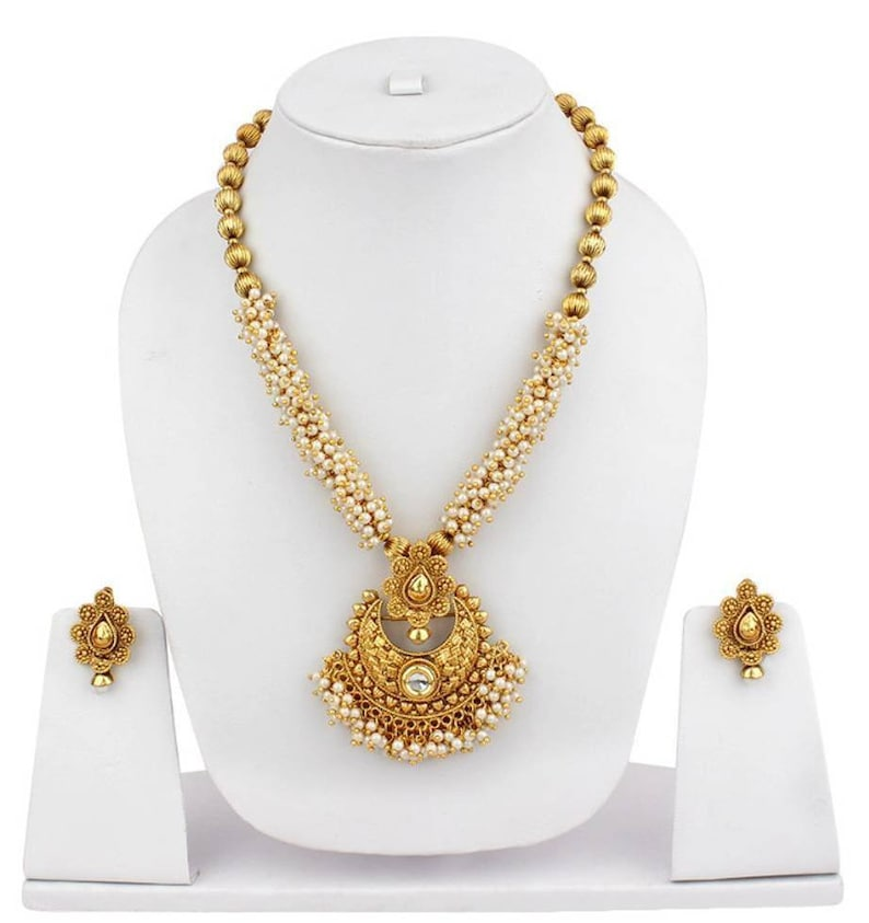 Bollwood Luxury Ethnic Gold Plated Matte Beaded Long Necklace Earrings Jewellery Set Temple Indian Traditional Wedding Brass