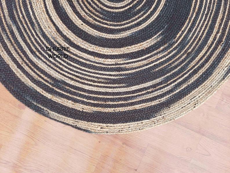 Black Rug Circle Rug 4x4 Handmade Rug Eco Friendly Rug 7x7 6x6 8x8 Jute Braided Round Rug Tie Dye Natural Fiber Rug 5x5 Hemp Rug
