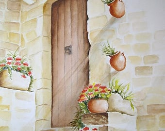 Watercolor painting original 27 x 35 cm figurative art, interior design, flowers, wearing floral Provence
