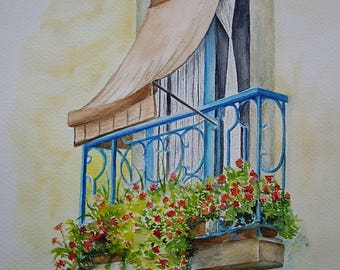 Watercolor painting original painting, 27 x 35 cm, flowered balcony, floral front