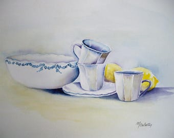 Watercolor porcelain, still life oil painting, original painting porcelain 18, 5 x 26, 5 cm