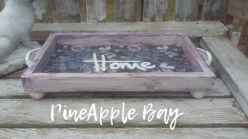 Farmhouse Feminine Wood Tray Flowered White frame container Women/'s gift Distressed Cottage Style Tea Tray Rustic Coffee Table box