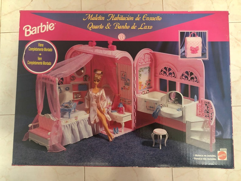 Vasca Da Bagno Barbie : Barbie mattel letto e da bagno borsa casa carrier etsy