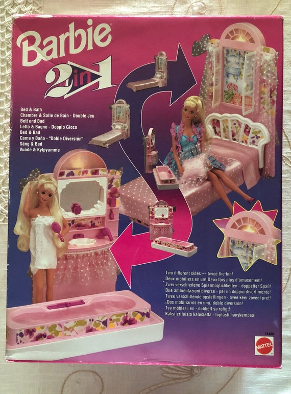 1993 BARBIE Mattel Vintage - 2 in 1 - Bett & Bad - neu und OVP