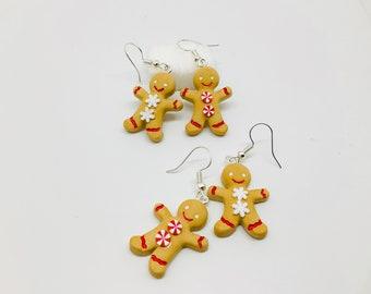 Fimo gingerbread man, gourmet jewelry, fancy earrings, Christmas earrings