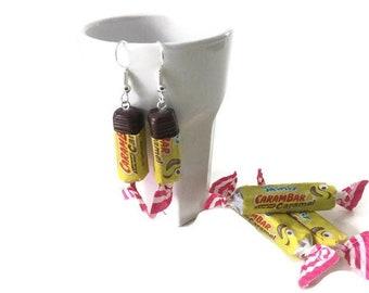 Fimo mini carambar earrings, miniature food, gift for her, costume jewelry, gift idea, food jewelry