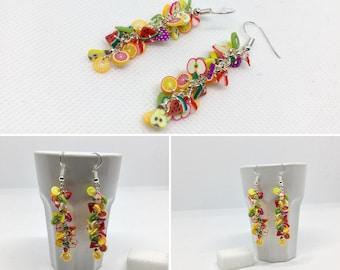 Earrings Fimo fruits, gourmet jewelry, costume jewelry, trendy jewelry, mom gift, handmade jewelry
