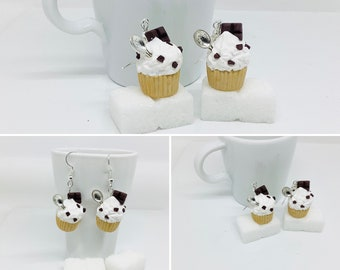 Cupcake earrings chantilly chocolate fimo, gourmet jewelry, moose gift