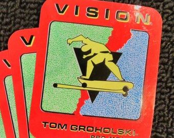 Vision Skateboards Sticker RED Tom Groholski Vintage 80s Authentic