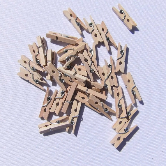 Klammern Mini 25 Stuck Holzklammern Basteln Wascheklammern Etsy