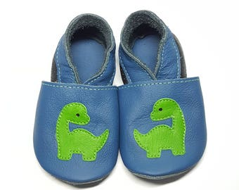 Dino soft sole leather shoes, leather baby shoes, baby pre-walkers, soft soled baby shoes, baby slippers, toddlers moccasins