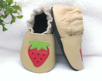 Strawberry soft sole leather baby shoes, leather baby shoes, baby pre-walkers, soft soled baby shoes, baby slippers, toddlers moccasins