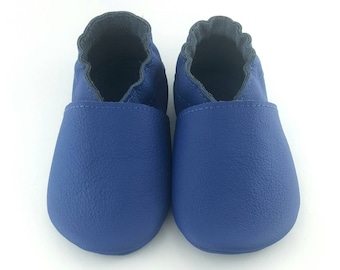 Blue baby moccasins, soft sole leather baby shoes, soft soled baby shoes, toddlers moccasins, crib shoes, baby gift