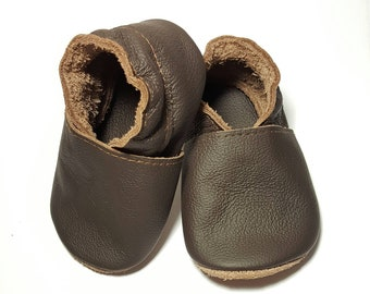Brown leather shoes, soft sole leather baby shoes, soft soled baby shoes, baby slippers, toddlers moccasins, crib shoes, baby gift