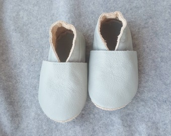 Light gray leather shoes, soft sole leather baby shoes, soft sole shoes, baby slippers, toddlers moccasins, crib shoes, baby gift