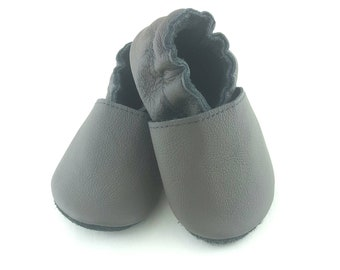 Dark grey leather shoes, soft sole leather baby shoes, soft soled baby shoes, baby slippers, toddlers moccasins, crib shoes, baby gift