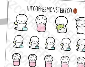 Sick Day Emotis | Hand Drawn Planner Stickers and Bullet Journal Emoti Stickers E055