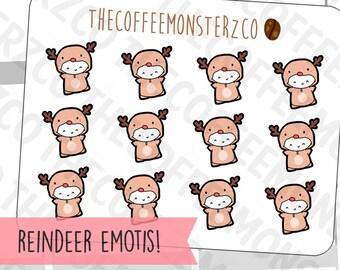 Reindeer Onesie Emotis  - emoti planner stickers E306