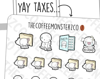 Filing taxes, Paperwork Emotis | Hand Drawn Planner Stickers and Bullet Journal Emoti Stickers  E746