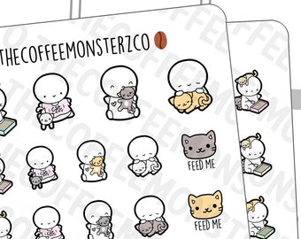 Cat Lady emotis | Hand Drawn Planner Stickers and Bullet Journal Emoti Stickers E133