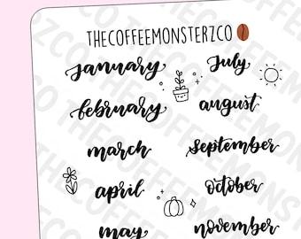 Handwriting Stickers: Months | Handwriting Script Planner Stickers E568