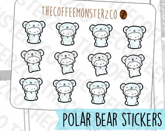 Polar Bear Onesie Emotis  - emoti planner stickers E314