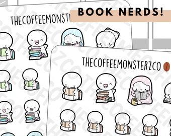 Book Nerd Emotis   Hand Drawn Planner Stickers and Bullet Journal Emoti Stickers E074