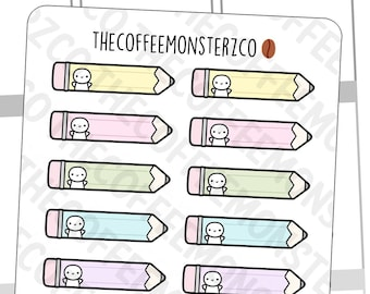 Emoti Pencil Labels   Hand Drawn Planner Stickers and Bullet Journal Emoti Stickers E823