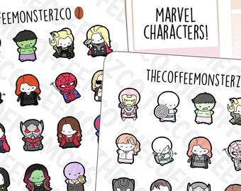 Superhero Emotis Sampler   Hand Drawn Planner Stickers and Bullet Journal Emoti Stickers