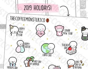2019 Holiday Emotis - emoti planner stickers E310
