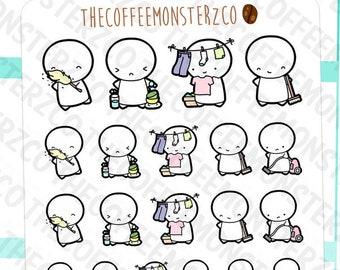 cleaning emotis - hand drawn emoti planner stickers E004