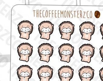 Hedgehog Onesie Emotis  - emoti planner stickers E285