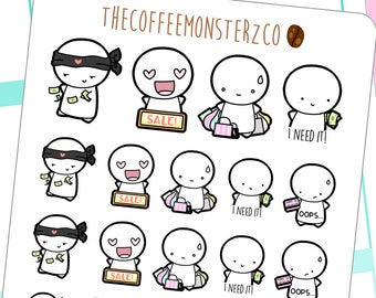 ninja shoppers emotis - emoti planner stickers E100
