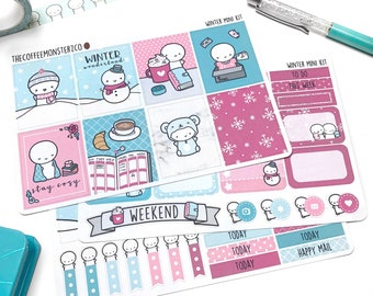 Winter Emoti Mini Kit (3-4 pages) - emoti planner stickers, hand drawn kits for your planner!