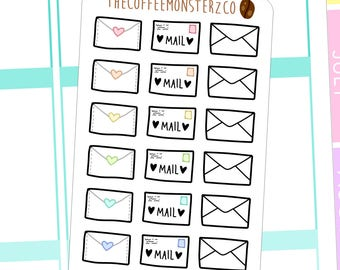 Happy Mail Stickers - hand drawn planner stickers