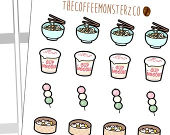 Asian Food Doodles Pt.2 | Hand Drawn Planner Stickers and Bullet Journal Doodle Stickers  C075