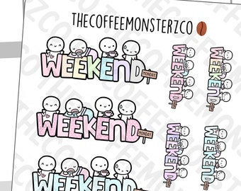 A Very Short Weekend! | Hand Drawn Planner Stickers and Bullet Journal Emoti Stickers E761