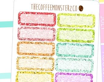 glitter quarter box  - functional planner stickers C045